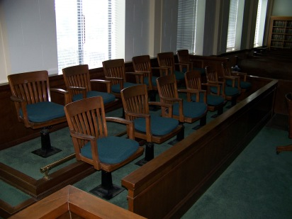 The jury box in the Wabaunsee County Courthouse provided the jury a ringside seat for the Longaker trial.