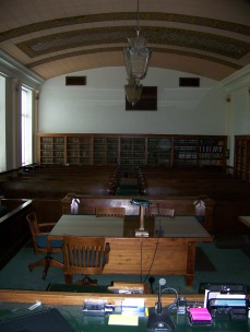 The spacious courtroom inside the Wabaunsee County Courthouse was filled to capacity during the Longaker trial in the fall of 1934.
