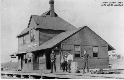 The first Rock Island depot in Alta Vista was constructed in 1887. Living quarters for the station agent was located on the second floor.