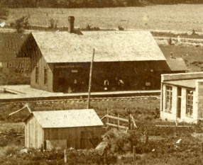 This is the only known view of the ATSF depot at Halifax, Kansas, later known as Hessdale. This depot burned in the 1890s.