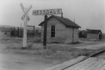 The ATSF depot and stockyards at Hessdale are seen in in this photo dated 1960.