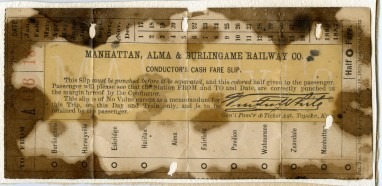 This passenger train ticket for the Manhattan, Alma, & Burlingame Railway bears four patent dates from the 1870s but was not issued until August of 1885. Notice the ten stations listed on the ticket.