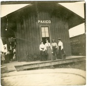 The CRIP depot at Paxico appeared busy in this view, circa 1920. Photo courtesy Marilyn Hund.