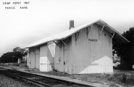 The CRIP depot at Paxico was boarded and used for storage when this real photo postcard was taken in 1967.