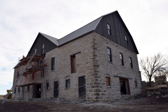 The stonework repair of the Schepp barn by Luke Koch and crew was nearing completion when this 2017 photo was taken.