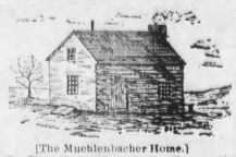 This etching of the Muehlenbacher home, the scene of the 1894 murder of Peter Muehlenbacher, appeared in the May 26, 1894 edition of The Alma Signal.