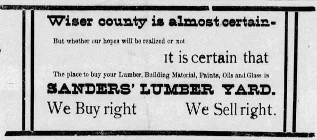 This ad from the January 18, 1895 edition of the Allen Herald promoted the creation of Wiser County.