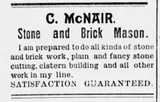 C. McNair was the stonemason contractor for the Wiser Barn, built in 1884.