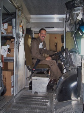 Longtime union steward, Jimmy Figgs sits at the wheel of his package car in this view from 2008. Figgs always had the back of his fellow employees.