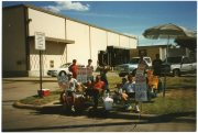 Teamster Union strikers picket the United Parcel Service building at Topeka in this view from August of 1997.