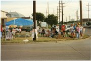 Spouses and children joined their Teamster family member on the strike lines in front of the Topeka UPS center in this view from August of 1997.
