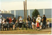 Teamster picketers gather along Crane Street in Topeka along the north side of the UPS building during the 1997 strike.