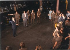 "Congressman Jim Slattery speaks to UPS employees during the ""am meeting"" on August 28, 1987."