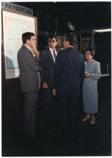 UPS managers meet Congressman Jim Slattery (back to the camera) at the UPS center in Topeka on Founders' Day, 1987.