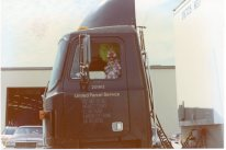 The clown behind the wheel is none other than UPS feeder manager, Lester Fields, seen in this view from 1989.
