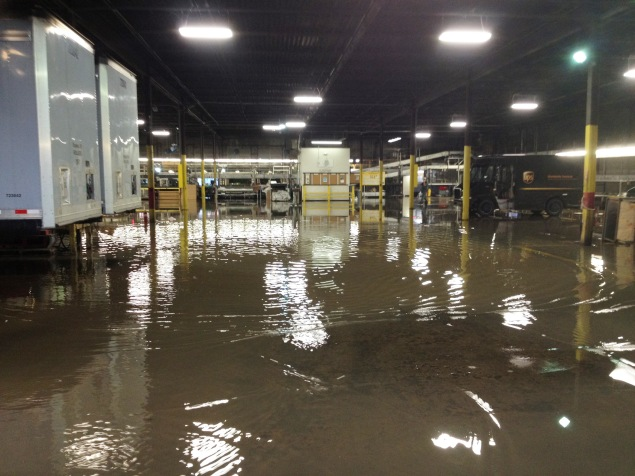 The Topeka UPS center was flooded on Founders' Day, August 28, 2012 by a ruptured water main.