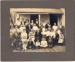 The family of Joseph and Augusta Thoes, seated center, pose for this Gus Meier photograph taken at their Alma home on June 9, 1911.