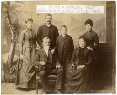 This portrait of the Peter and Caroline Thoes family was taken shortly before Peter Thoes untimely death in 1894.