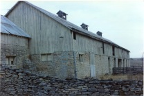 This late 1980s view of the Peter Thoes barn looks at the south face of the bank-barn.