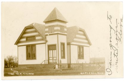 The Methodist Episcopal Church of Maple Hill was located at 4th and Fowler Streets when this Bowers photo was taken in 1907.