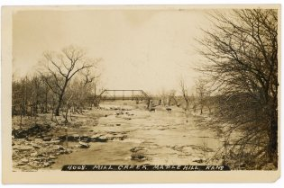"This 1908 view of Mill Creek at the Maple Hill ""Romick"" crossing was taken by John Bowers."