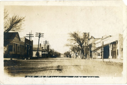 This 1907 view of Missouri Street looks north from the 200 block. Notice that the new Meyer building (where the Wabaunsee County Historical Society Museum is located today) had been constructed when this view was taken, but the old Meyer building, next to it to the south, was still in use.