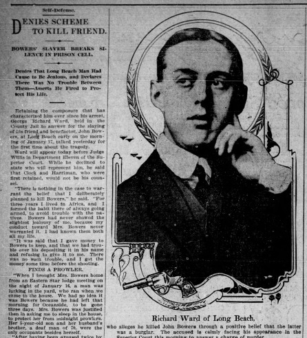 "This March 6, 1911 edition of the Los Angeles Times shows a photo of accused murderer, Richard ""Dick"" Ward."