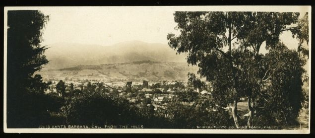 This panoramic postcard, titled Santa Barbara From the Hills, bears the imprint, J. Bowers Photo Co., Long Beach, Cal. and dates from about 1910.