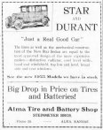 This advertisement from The Alma Signal, dated September 11, 1924 for the Alma Tire and Battery Shop invites the public to see the new 1925 models.