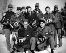 Dave Mathias, second from left, poses with other Air Force photographer trainees at their school at Lowery AFB, Colorado in this view from 1955.