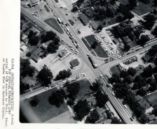 This Mathias aerial view of an Atlas missile passing through North Topeka on Topeka Blvd on its way to Site #1 is dated 6-9-61.