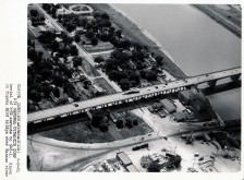 Dave Mathias took this aerial view of an Atlas missile crossing the Kansas River on the Topeka Blvd. bridge in Topeka enroute to its destination at Site #1, Rock Creek.