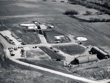 Dave Mathias took this aerial view of Site No. 4 as the Atlas missile, the first installed in Kansas, was erected in a test.