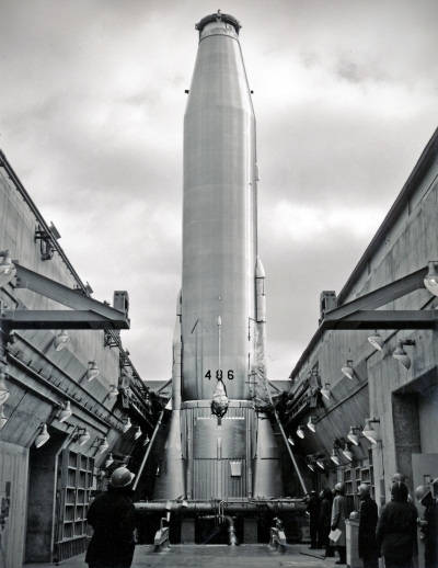 This view of missile No. 486 shows the first Atlas missile installed in a launcher in Kansas. This view by Dave Mathias was taken at Site # 4 at Burlingame.