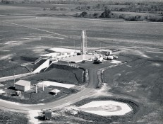 Dave Mathias took this 1961 aerial view of Site No. 9 at Holton while contractors were testing the boom which lifted the missile into a vertical position.