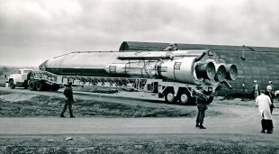 An Atlas missile is seen being delivered to Site No. 6 at Keene, Kansas in this 1961 view.