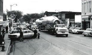 An Atlas missile passes through downtown Osage City on its way to Site No. 4, located near Burlingame in this 1961 view by Dave Mathias.