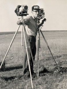 Dave Mathias is seen in this 1961 photo photogaphing a missile test for General Dynamics Astronautics.
