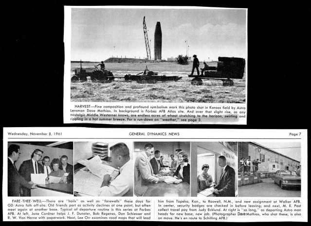 1961--GENERAL DYNAMICS NEWS PAPER ARTICLE WITH MY PHOTOS