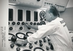 This Dave Mathias photo, dated 9-19-61, shows a Rocketdyne engineer performs a flow meter checkout at one of the Forbes AFB sites.