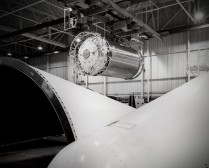 A section of a Centaur booster is being moved inside the GDA factory at San Diego in this view from 1964 by Dave Mathias.