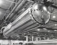 Dave Mathias photographed this Centaur booster rocket being moved on the assembly line at the General Dynamics factory at San Diego in 1964.