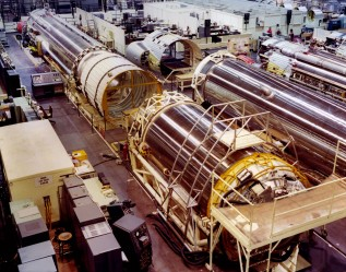 Rocket stages manufactured at the San Diego General Dynamics Astronautics factory are seen in this Dave Mathias photo, circa, 1964.
