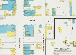 This portion of the 1908 Sanborn map for Alma, Kansas includes Hickory Jones' bowling alley and pool hall, located a half of a block east of Missouri Street on East Main.