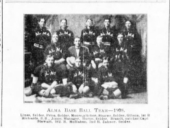 The Alma baseball team was featured in this photo in The Alma Signal of July 3, 1908. Team owner and manager, Hickory Jones is seated in the second row, second from the left.