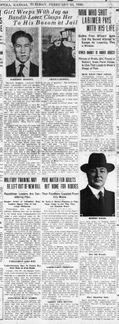 The Topeka Daily Capital of February 24, 1920 details the pursuit and arrest of two robbers who had taken refuge in Hickory Jones farm located four miles south of Topeka, Kansas.